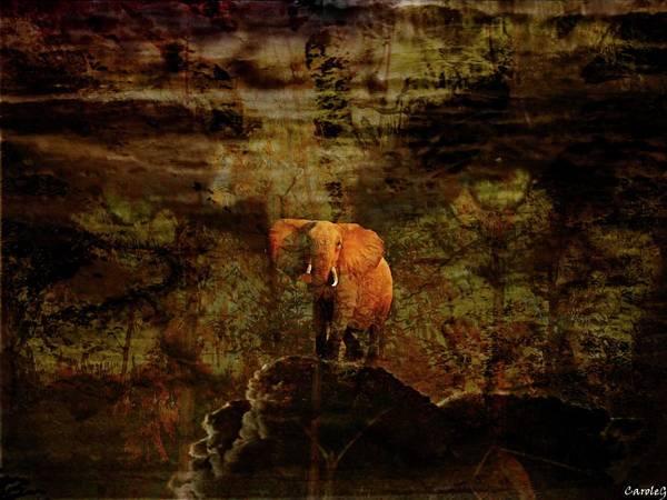 Elefant Art Print featuring the digital art Elefant King by Carole Guillen