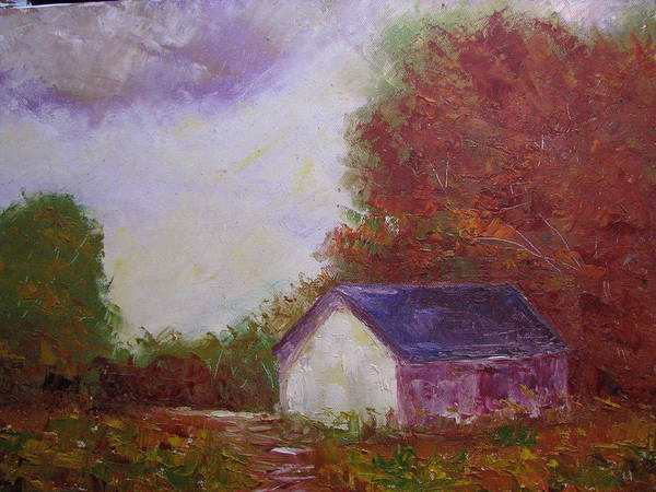 Farm Scene Art Print featuring the painting Elmer's Farm by Belinda Consten