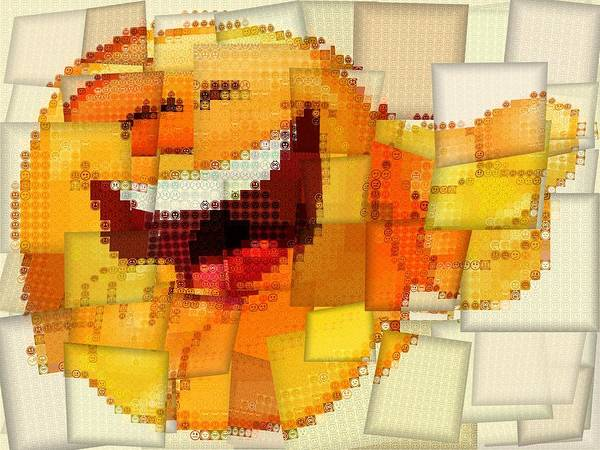 Emoticon Mosaic Cubism Art Print featuring the digital art Emoticon Mosaic Cubism by Dan Sproul