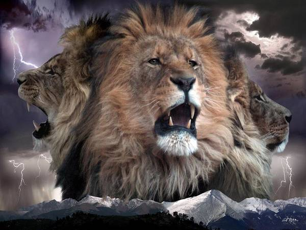 Lions Art Print featuring the digital art Enough by Bill Stephens