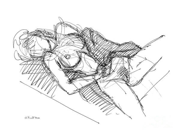 Erotic Renderings Art Print featuring the drawing Erotic Art Drawings 7 by Gordon Punt