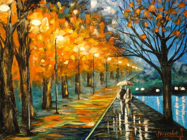 Figure Art Print featuring the painting Evening Rain by Charles Vaughn