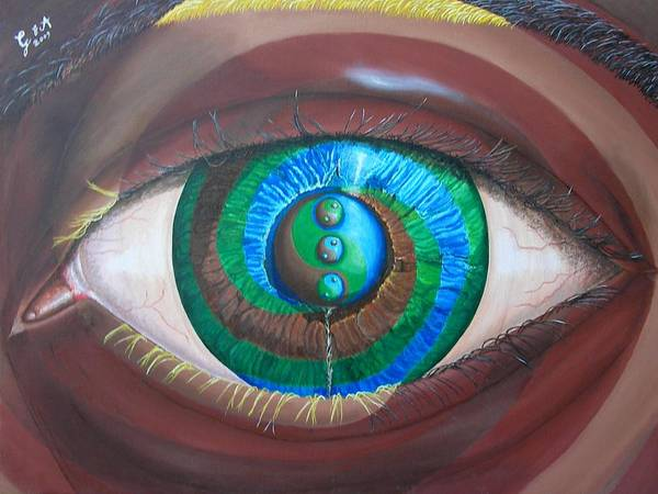 Eye Art Print featuring the painting Evolution-insideoutfusion by Giampaolo Piemontese