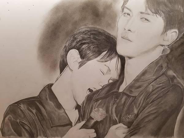 eaaa3dd77c0 Exo Fanart Art Print featuring the drawing Exo Fanart by Vicky Ripia