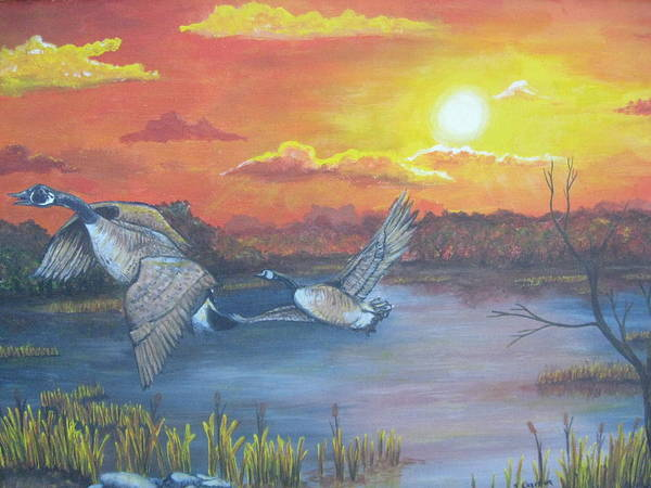 Landscape Wildlife Ducks Sunset Art Print featuring the painting Fall And Flight by Sandra Garben