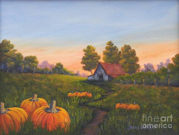 Landscape Art Print featuring the painting Fall In The Air by Jerry Walker