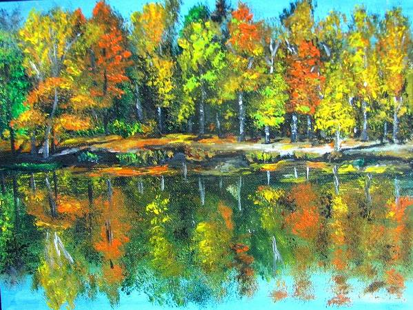 Fall Art Print featuring the painting Fall Landscape Acrylic Painting Framed by Natalja Picugina