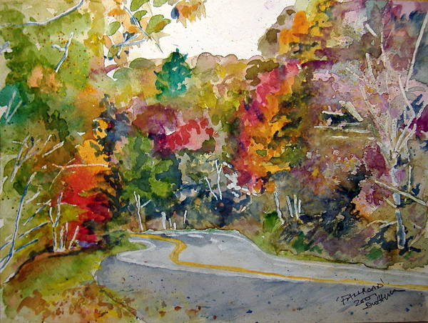 Landscape Art Print featuring the painting Fall Road - Watercolor by Donna Hanna