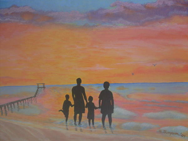 Sunset Art Print featuring the painting Family At Sunset 2 by Warren Thompson