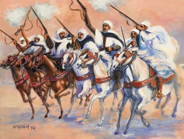 Fantasia Art Print featuring the painting Fantasia Algerienne by Josette SPIAGGIA