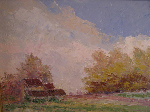 Farm Scene Art Print featuring the painting Farmstead Hunterdon Nj by Belinda Consten