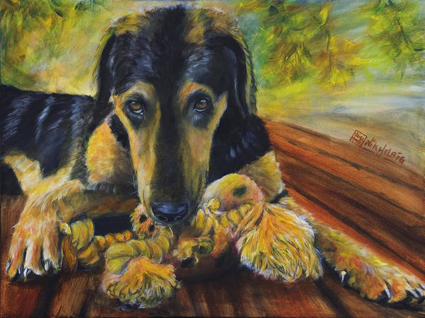 Dog Art Print featuring the painting Favorite Things by Nik Helbig