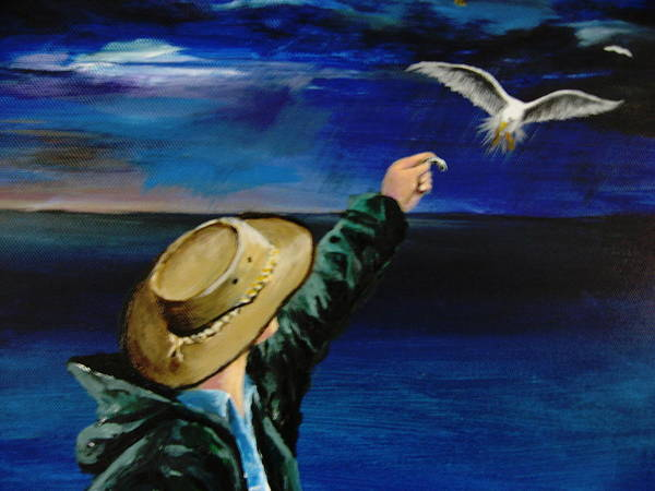 Seagull Art Print featuring the painting Feeding My Gull Friend by Larry Whitler