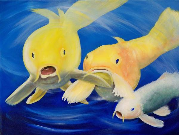 Fish Art Print featuring the painting Feeding Time by Joni McPherson