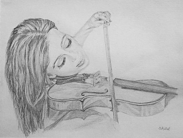 Sketch Art Print featuring the drawing Fiddler by Sheryl Gallant