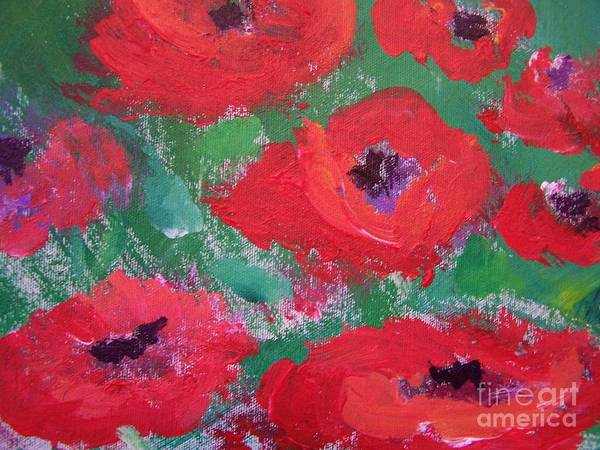 Floral Art Print featuring the painting Field Of Red by Geraldine Liquidano
