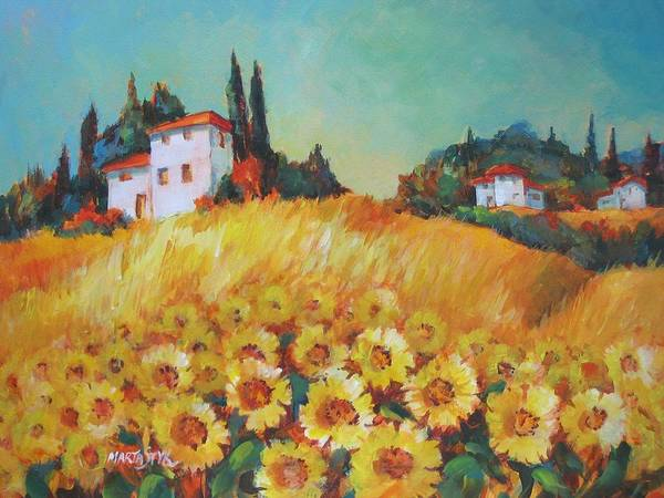 Landscape Art Print featuring the painting Fields Of Tuscany by Marta Styk