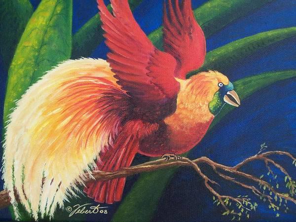 Bird Art Print featuring the painting Firebird by Dennis Vebert