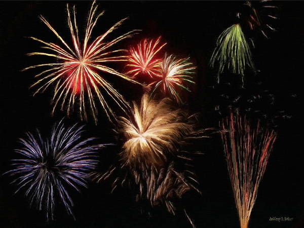 Fireworks Art Print featuring the painting Fireworks by Jeff Kolker