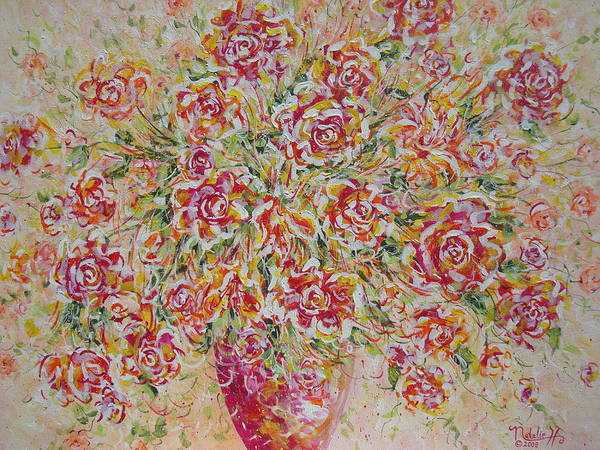 Flowers. Floral Art Print featuring the painting First Love Flowers by Natalie Holland