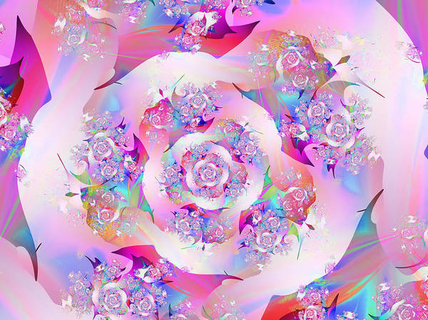 Fractal Art Print featuring the digital art First Rose by Vicky Brago-Mitchell