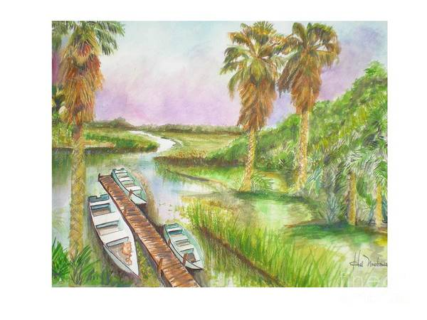 Boat Launch Art Print featuring the painting Fish Camp by Hal Newhouser