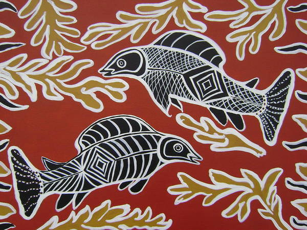 Fish Art Print featuring the painting Fish Dreamin by Laura Johnson