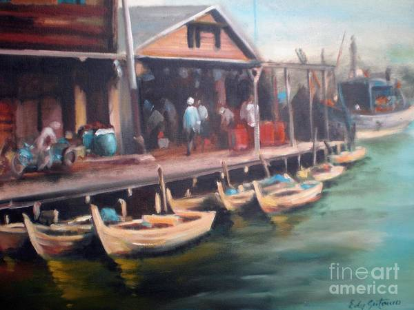 Landscape Art Print featuring the painting Fisher Village by Edy Sutowo