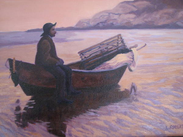 Landscape/ Portrait Art Print featuring the painting Fisherman At Good Harbor Beach Gloucester Circa 1880 by Laura Roberts