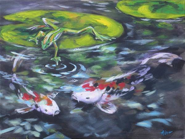 Koi Fish Water Waterscape Pond Lily Pad Nature Blue Red Green White Art Print featuring the painting Fishing For Trouble by Alan Scott Craig
