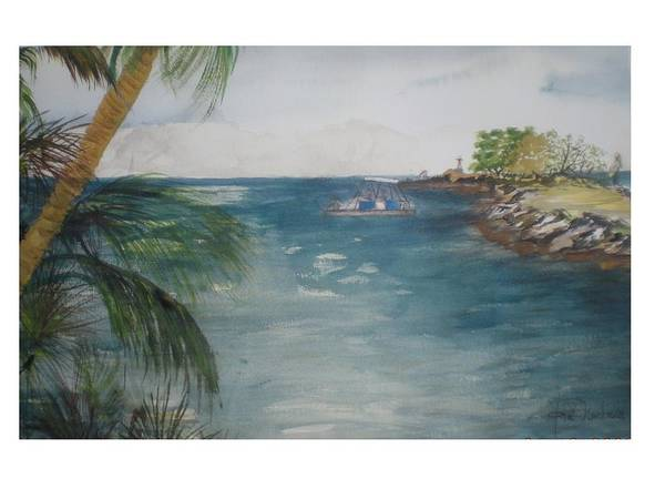 Seascape Upper Keys Art Print featuring the painting Fishing With Friends by Hal Newhouser