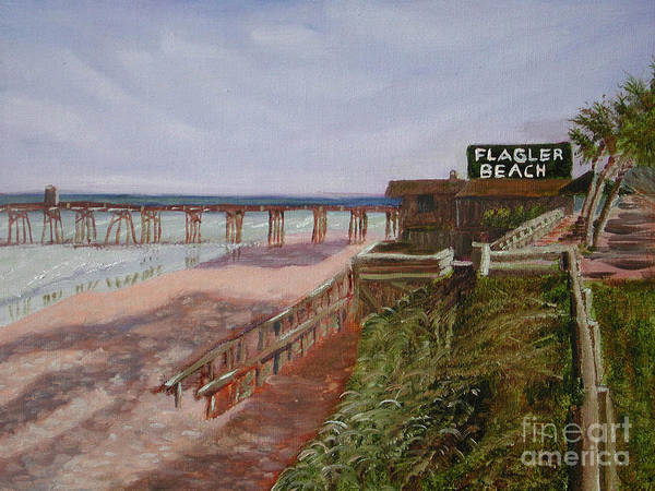 Landscape Art Print featuring the painting Flagler Beach Pier 1 by Sodi Griffin