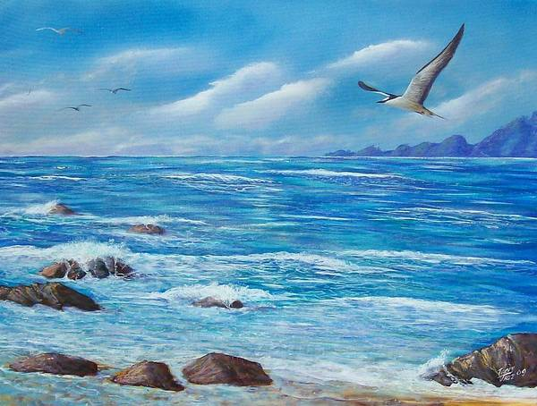 Seascape Art Print featuring the painting Flight Seascape by Tony Rodriguez