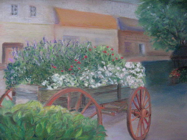 Flowers Art Print featuring the pastel Flower Cart In Savannah by Diane Larcheveque