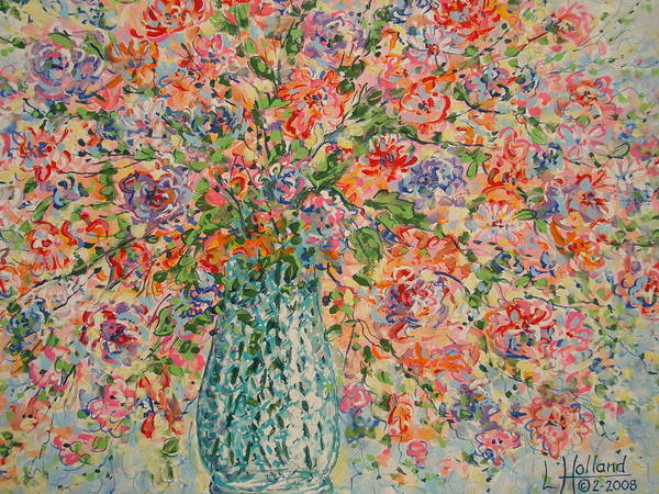 Flowers Art Print featuring the painting Flowers In Crystal Vase. by Leonard Holland