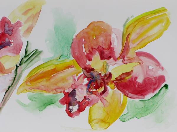 Floral Art Print featuring the painting Flying Colors by Kathy Mitchell