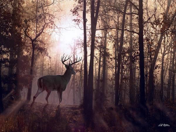 Deer Art Print featuring the digital art Foggy Morning In Missouri by Bill Stephens