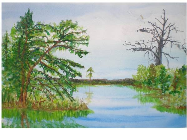 Landscape Art Print featuring the painting Fort Mc Coy Lake by Hal Newhouser