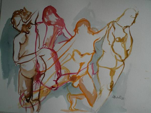 Female Nudes Art Print featuring the painting Four Female Figures by Aleksandra Buha