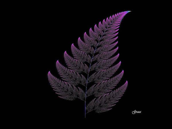 Fern Art Print featuring the digital art Fractal Fern by Julie Grace