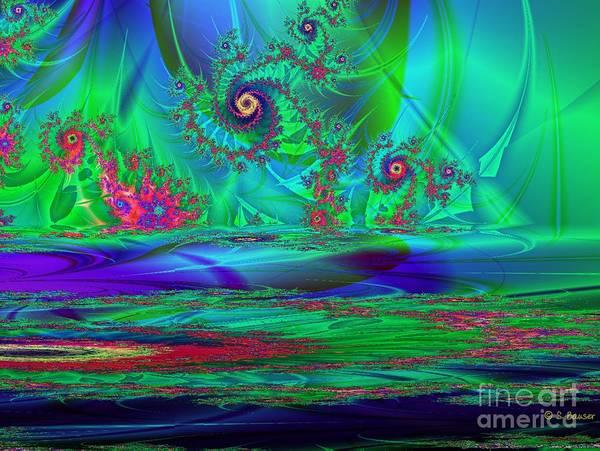 Digital Art Print featuring the digital art Fractal Reflections by Sandra Bauser Digital Art