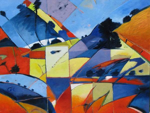 Angles Art Print featuring the painting Fractured Landscape by Gary Coleman