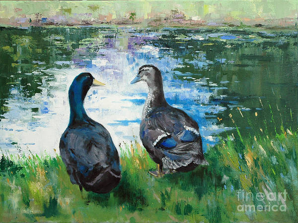 Ducks Art Print featuring the painting Fred And Ethel At Scott's Pond by Glenn Secrest