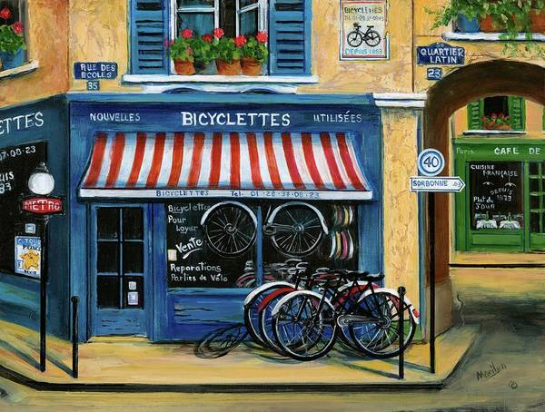French Bicycle Shop Art Print By Marilyn Dunlap