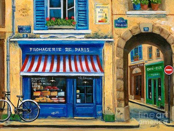 Paris Art Print featuring the painting French Cheese Shop by Marilyn Dunlap