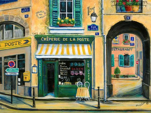 Paris Print featuring the painting French Creperie by Marilyn Dunlap