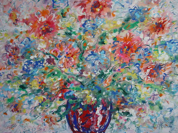 Flowers Art Print featuring the painting Fresh Bouquet by Leonard Holland