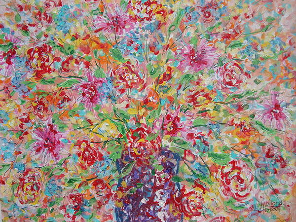 Painting Art Print featuring the painting Fresh Flowers. by Leonard Holland