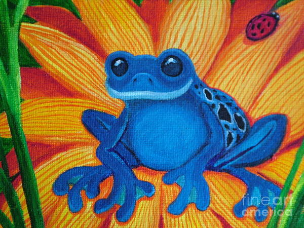 Frog And Flower Painting Art Print featuring the painting Frog And Lady Bug by Nick Gustafson