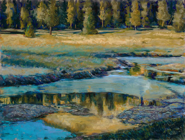 River Art Print featuring the painting Frozen Reflections by Billie Colson